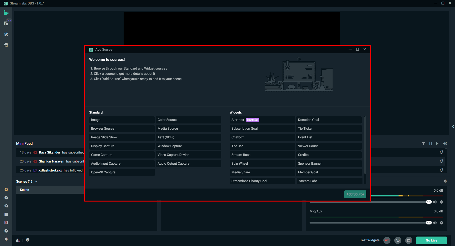 Streamlabs OBS Add Source