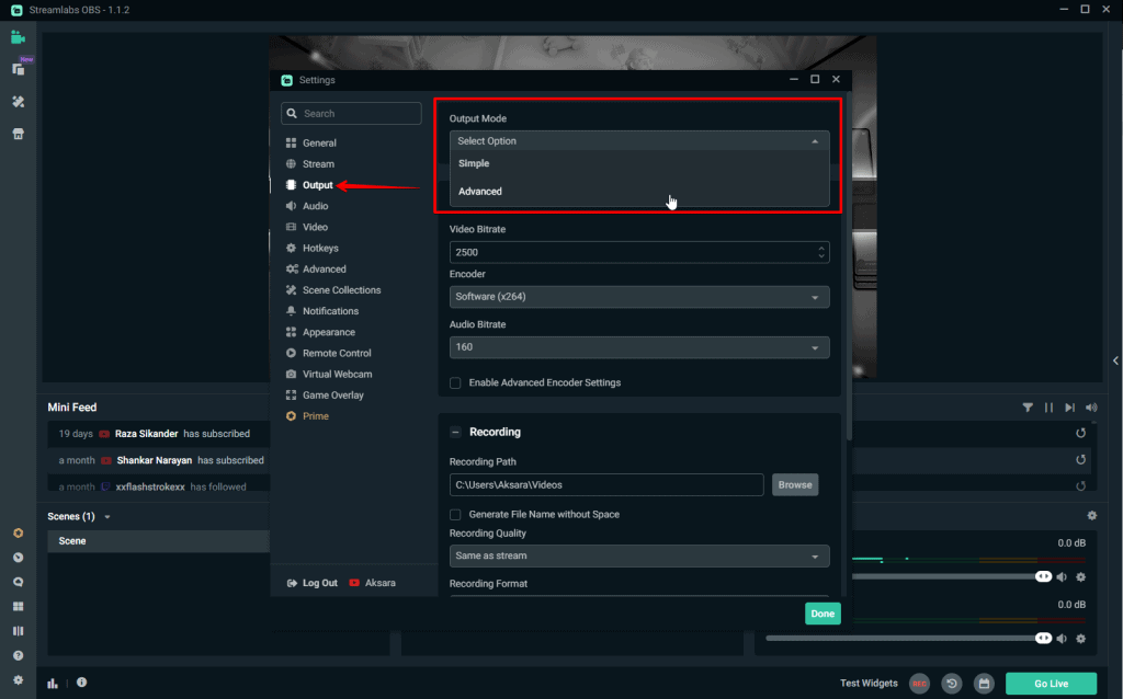 Streamlabs OBS Output Mode Advanced