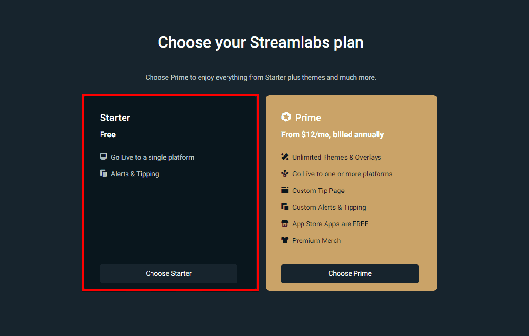 Streamlabs Plan Free And Paid Premium